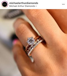 The trifecta!! Promise ring, engagement ring, wedding band perfect compilation in yellow or rose gold