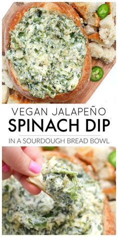 This Vegan Jalapeño Spinach Dip is the perfect game day or party snack. No one … This Vegan Jalapeño Spinach Dip is the perfect game day or party snack. No one will ever know this creamy deliciousness is even vegan… Continue Reading → Vegan Foods, Vegan Dishes, Yummy Vegan Food, Vegan Sauces, Vegan Appetizers, Appetizer Recipes, Party Recipes, Snacks Recipes, Party Appetizers