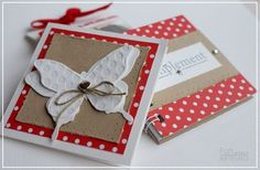 card butterfly butterflies square card  red white sand polka dots - F Mouss