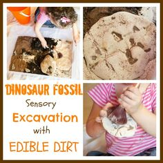 Dinosaur Fossil Sensory Excavation with EDIBLE dirt. A must for kids who love dinosaurs!