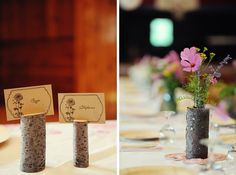 driftwood wedding: woodsy tablescapes / centerpieces
