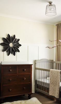 Perfect color combo for Jacob's room. A with dark dresser, hang birch branch?