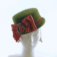Olive Green Pillbox Hat for Women 1940s Style