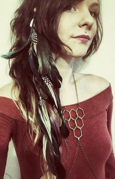 Hair Feathers  Long Feather Extension Hair Clip by Chrysalism, $34.00