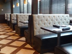166 Restaurant Booths. like the mismatched fabric
