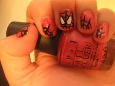 Via @hellogiggles, Nail of the Day featuring cool Spiderman design and OPI