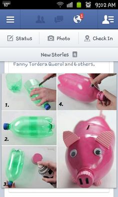 Piggy bank diy upcycle -- I know pigs are pink, but Brett will have either a black pig or some funky blue pig.  It's more masculine.