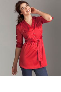Ezibuy - Emerge Weekend Satin Shirt Dress. Red, satin, 3/4 sleeve, shirt dress, buttons, sash, pockets.
