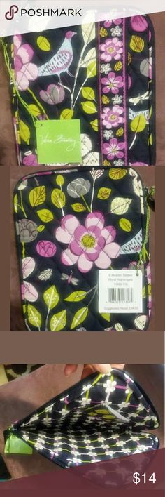 "NWT Vera Bradley Tablet/E-reader zip sleeve Vera Bradley E-reader/Tablet sleeve New with tags in retired print Floral Nightingale. Pretty purple with birds allover, printed inside as well. Soft cotton with padding to protect your device. Great for 7"" and smaller tablets or e-readers. Zips close and has a slip pocket inside for business cards, etc. I keep my 7"" Samsug in one and earbuds in the slip pocket, perfect size with plenty of room :-) Thank you for looking and please feel free to ask…"