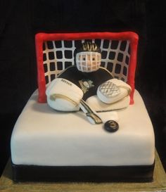hockey goalie cake cake for RJ's Birthday! Hockey Birthday Cake, Hockey Birthday Parties, Hockey Party, Boy Birthday, Birthday Cakes, Birthday Ideas, Fancy Cakes, Cute Cakes, Hockey Cupcakes