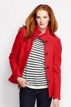 Women's Boiled Wool Jacket from Lands' End  You need at least one nice, polished coat!