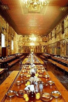 Hilandar Monastery trapeza (dining hall), Mount Athos, Greece | by Herman Voogd Zorba The Greek, Water For Health, The Holy Mountain, Byzantine Architecture, Christian World, Greece Islands, Saint George, Spring Home, Athens