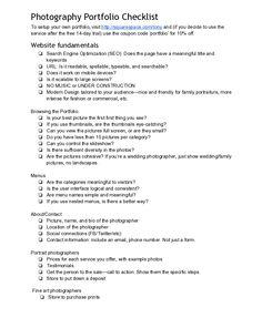 Photography Portfolio Checklist Source: http://sdpcommunity.com/downloads/PortfolioChecklist.pdf