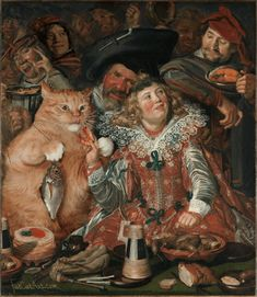 Fat Cat Art Is Our Favorite Way to Enjoy Famous Paintings - Cattitude - Tabbies to Tigers - Katzen / Cat Big Cats Art, Cat Art, Silly Cats, Funny Kitties, Adorable Kittens, Funny Dogs, Funny Paintings, F2 Savannah Cat, All About Cats