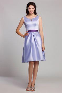 A-Line Scoop Lavender Satin Knee-Length Bridesmaid Dress