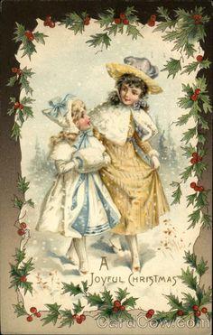 Vintage christmas postcard, A Joyful Christmas!