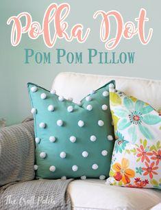 Polka Dot Pom Pom Pillow. Add a playful texture to a plain throw pillow!