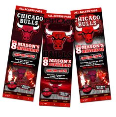 Chicago Bulls Birthday Party Invitations Ticket Photo Cards Custom Baby 1st First
