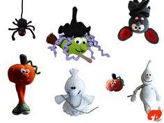 Halloween Häkelset. Geist, Hexe, Kürbis, Fledermaus häkeln, Anleitungen findet ihr bei Makerist