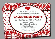 Valentine's Invitation Printable  Red Damask by ThatPartyChick, $15.00