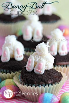 These are the cutest Easter Cupcakes ever! Little bunny t… Bunny Butt Cupcakes! These are the cutest Easter Cupcakes ever! Little bunny tooshies top your favorite chocolate cupcakes! Bunny Cupcakes, Easter Cupcakes, Garden Cupcakes, Easter Cake, Yellow Cupcakes, Art Cupcakes, Bunny Birthday Cake, Marble Cupcakes, Themed Cupcakes