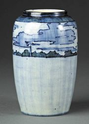 Newcomb Pottery: 1901 high-glaze vase that shows storm clouds breaking over a flooded Mississippi River with several rooftops peaking above a sharply defined horizon. The scene is believed to represent the aftermath of a hurricane that struck coastal Louisiana on August 14, 1901.