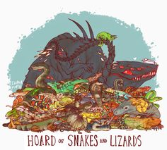 Dragons with Unusual Hoards: Hoard of Snakes and Lizards by iguanamouth on tumblr