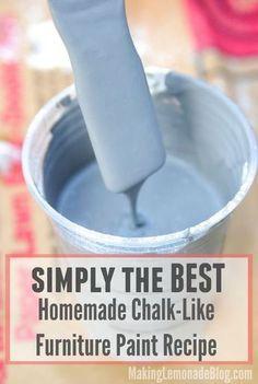 Si usted ha estado buscando una gran receta pintura tiza, no busques más! Esta receta 3-ingrediente funciona de maravilla como una pintura de muebles sin preparación para que puedas hacer muebles viejos se vea mejor nuevo-- en su estilo y colores preferidos!