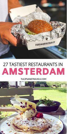 Amsterdam Tulips, Amsterdam Food, Amsterdam Living, Affordable Honeymoon Destinations Usa, Amsterdam Restaurant, Steak Dinner Sides, Amsterdam Travel Guide, Brunch Places, Food Spot