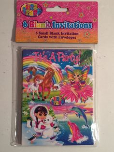 Vintage LISA FRANK Blank (6) Invitations It's A Party Birthday Card Horse Fairy