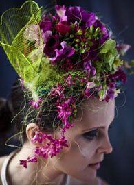 purple and fushia head dress, Françoise Weeks Botanical Fashion, Floral Fashion, Deco Floral, Floral Design, Floral Style, Floral Headdress, Flower Artists, Amazing Flowers, Flower Crown