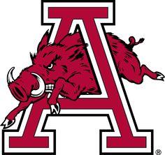 Arkansas Razorbacks Secondary Logo (1974) - A hog running through an A