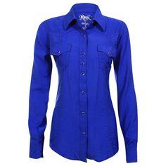 43aa50436d6fa Rock 47 by Wrangler Women s Long Sleeve Solid Print Western Shirt