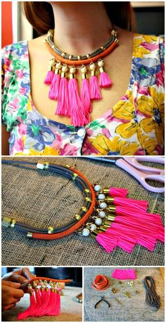 DIY Neon Tassle Necklace - 105 Top DIY Necklace Ideas To Try Out This Weekend - DIY & Crafts