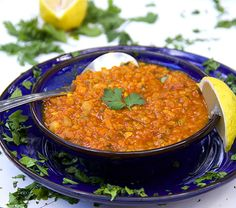 Vegetarian Moroccan Lentil Soup ( Harira ) - high protein lentils and chickpeas, lots of healthy veggies, herbs and fragrant spices. Add a salad for a full meal. Moroccan Lentil Soup, Red Lentil Soup, Lentil Soup Recipes, Vegetarian Recipes, Cooking Recipes, What's Cooking, Healthy Recipes, Soup Pan, Soup And Salad