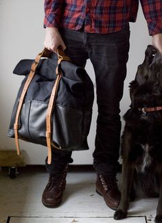 HotShot in Black Leather & Waxed Canvas – Awl Snap Leather Goods