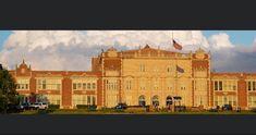 Theodore Roosevelt High School from Polk Boulevard Roosevelt High School, Theodore Roosevelt, Iowa, Louvre, Building, Travel, Viajes, Buildings, Destinations