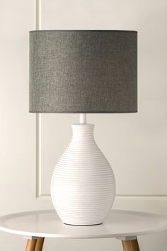985 Grapejelly White Table Lamp with Charcoal Hessian Shade