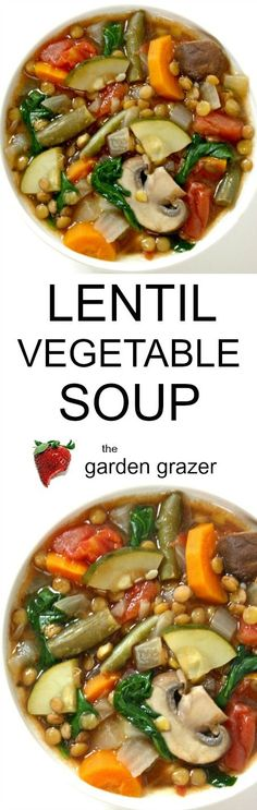 LOVE this easy, 10-ingredient Lentil Veggie Soup! Totally customizable and great for lunches, leftovers, etc. (vegan, gluten-free)