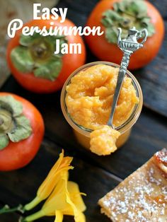 A very easy Persimmon Jam Recipe that can be used in cheesecakes or just spreaded on toast. This recipe will be ready in 35 minutes with only 4 ingredients. Persimmon Jelly Recipe, Persimmon Recipes, Persimmon Cookies, Persimmon Jam Recipe Canning, Jam Recipes, Fruit Recipes, Holiday Recipes, Cooking Recipes, Drink Recipes