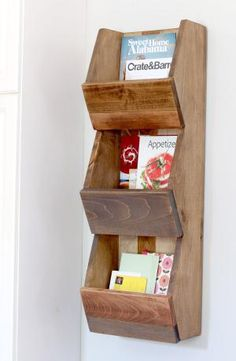 Picture of a wooden shelf with magazines and mail - © Jen Woodhouse | The House of Wood, LLC