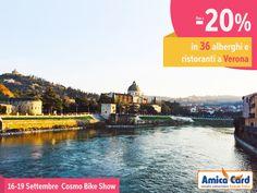 Vieni al CosmoBike Show di #Verona, dal 16 al 19 settembre con Amica Card: fino al 20% di sconto presso 36 strutture alberghiere e ristoranti convenzionati. Registrati ora e scarica gli #sconti su AmicaCard.it #cosmobikeshow #biketourism #risparmio #AmicaCard #convenzioni