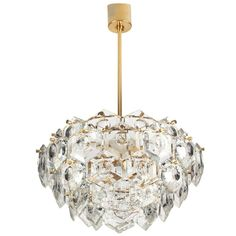 5 Tiers Gilded Kinkeldey Chandelier Diamond Crystal Brutalist | From a unique collection of antique and modern chandeliers and pendants  at http://www.1stdibs.com/furniture/lighting/chandeliers-pendant-lights/