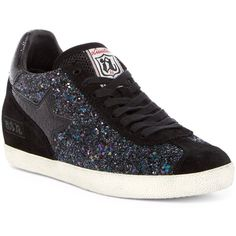Ash Guepard Glitter Wedge Sneaker ($100) ❤ liked on Polyvore featuring shoes, sneakers, midnight, lacing sneakers, lace up shoes, ash shoes, glitter sneakers and suede sneakers