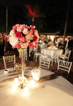 hanging crystals & floral arrangment with candles - tall wedding centerpiece