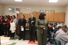 JSU leaders observe the Blackburn wireless laboratory.