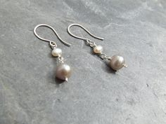 Ivory and Silver Freshwater Pearl Bridal Earrings, £17.00
