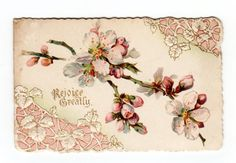 CA 1880s Victorian Christmas Card Die Cut Emb Litho Apple Blossoms | eBay