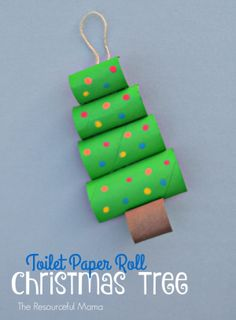 Toilet Paper Roll Christmas Tree Craft - DIY Ideen für Weihnachten - Upcycle your toilet paper rolls into this fun and easy Christmas craft or ornament for kids to make - Creative Christmas Trees, Christmas Tree Crafts, Christmas Projects, Christmas Fun, Holiday Crafts, Christmas Ornaments, Recycled Christmas Tree, Christmas Activities, Kindergarten Christmas Crafts