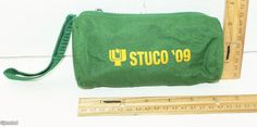 """STUCO '09 WOMEN'S COSMETIC MAKEUP BAG ZIPPERED 3"""" x 6"""" GREEN CASE OR POUCH 2009 #Unbranded"""